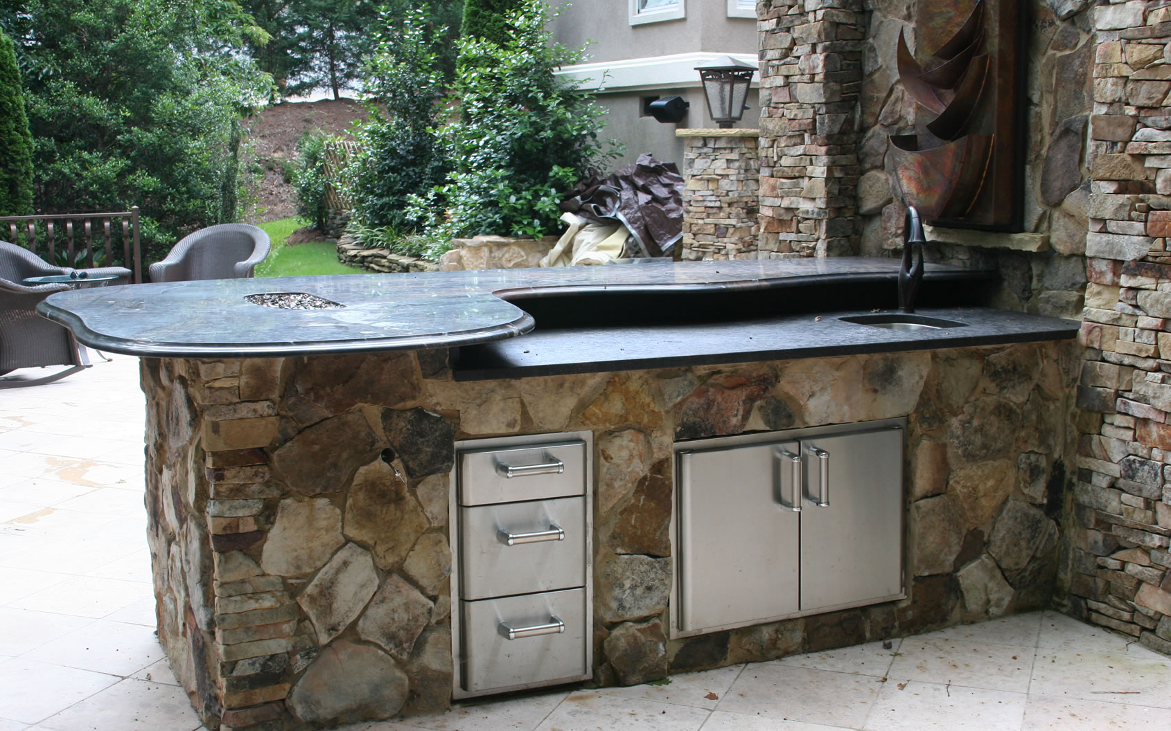 Outdoor living area with outdoor kitchen by columbia and for R kitchen south carolina
