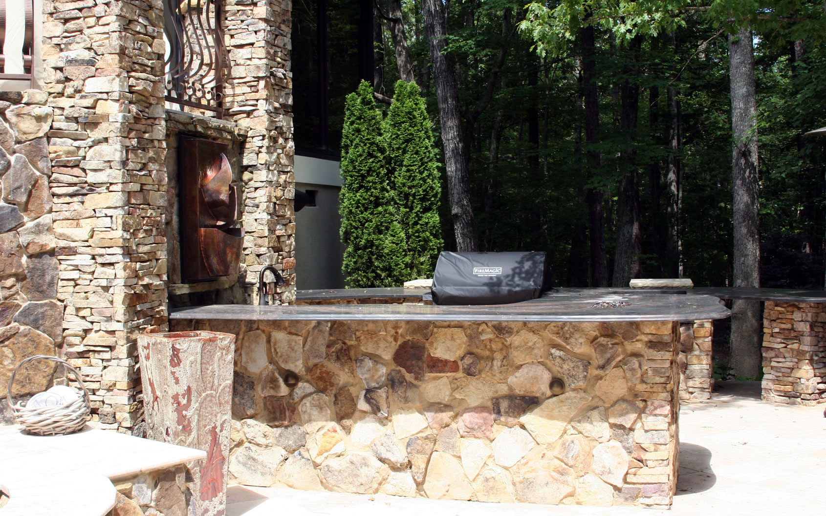 Outdoor Living Area With Outdoor Kitchen By Columbia And